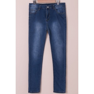 High-Waisted Tapered Jeans - Blue - Xl