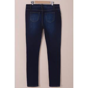 High-Waisted Tapered Jeans - DEEP BLUE M