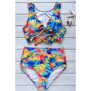 Sexy Plunging Neck Floral Print High-Waisted Women's Tropical Bathing Suit
