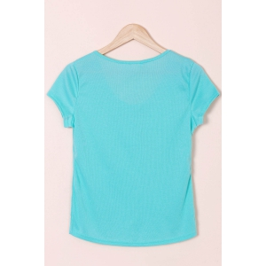 Sexy Scoop Neck Short Sleeve Solid Color Slimming T-Shirt For Women - BLUE S