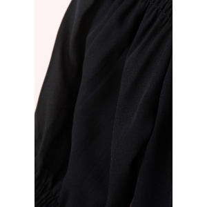 Trendy Solid Color Off-The-Shoulder 3/4 Sleeve Blouse For Women - BLACK S