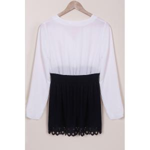 Chic Plunging Neck Long Sleeve Hit Color Women's Dress - WHITE S