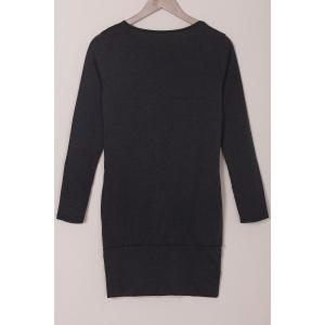 Simple Style Solid Color Long Sleeve Bodycon T-Shirt Dress For Women - BLACK S