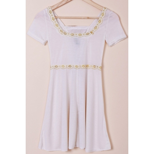 Sweet Lace-Up Design Short Sleeve High Waist T-Shirt For Women