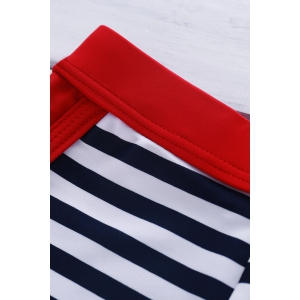 Classic Color Block Stripes Lace-Up Boxer Swimming Trunks For Men - STRIPE M