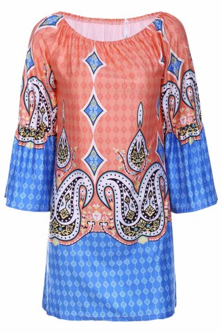 New Bohemian Style Scoop Neck Flare Sleeve Printed Dress For Women