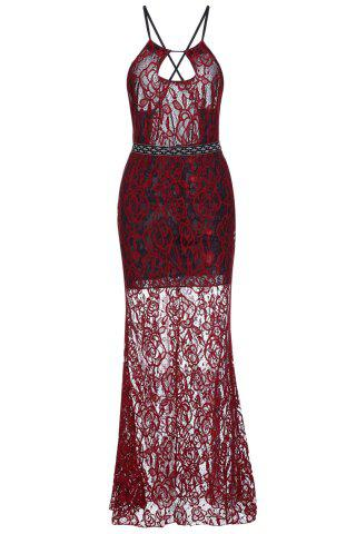 Best Sheer Backless Fitted Lace Maxi Prom Dress RED S