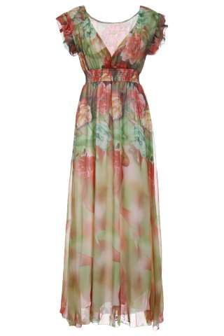 Surplice V Neck Floral Long Empire Waist Dress - Colormix - 7xl