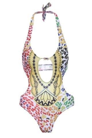 Buy Stylish Halter Hollow Out Print One-Piece Swimsuit For Women COLORMIX S