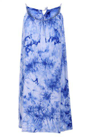 Discount Chic Spaghetti Strap Sleeveless Tie Dye Women's Dress BLUE XL
