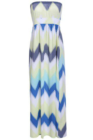 Chic Trendy Strapless Colorful Chevron Printed High Waist Maxi Dress For Women
