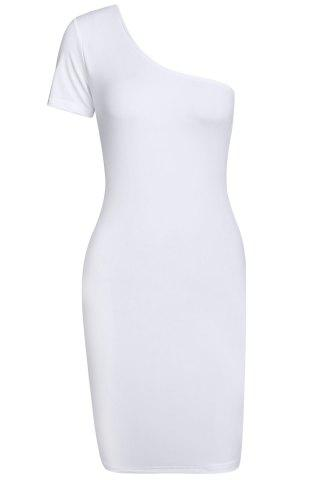 Latest Sexy One Shoulder Short Sleeve Solid Color Women's Bodycon Dress