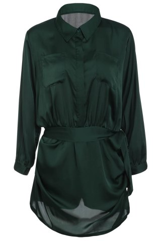 Hot Brief Polo Collar Army Green Long Sleeve Romper For Women ARMY GREEN M