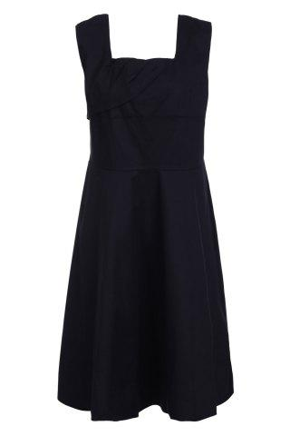 Buy Retro Style Square Neck Sleeveless Solid Color Ball Gown Dress For Women BLACK 3XL