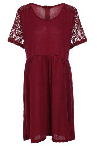 Cheap Stylish Scoop Neck Lace Splicing Short Sleeve Plus Size Dress For Women