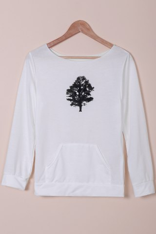 Chic Chic Women's Plants Print Long Sleeve Sweatshirt WHITE S