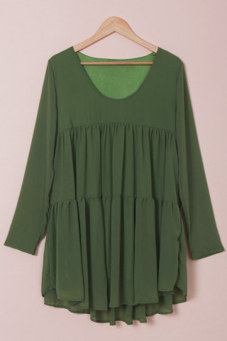 Outfit Elegant Scoop Collar Long Sleeves Loose-Fitting Chiffon Dress For Women GREEN S