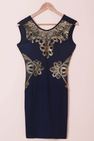 Buy Chic Women's Lace Cut Out Splicing Bodycon Dress BLUE M