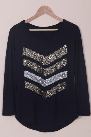 Best Trendy Sequin Spliced Long Sleeve T-Shirt For Women