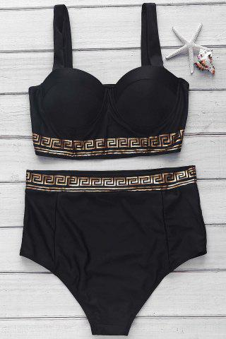 Fancy Spaghetti Strap Printed High-Waisted Bikini Set