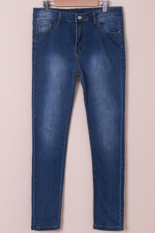 Unique High-Waisted Tapered Jeans BLUE L