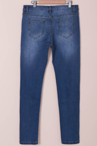 Unique High-Waisted Tapered Jeans - M BLUE Mobile
