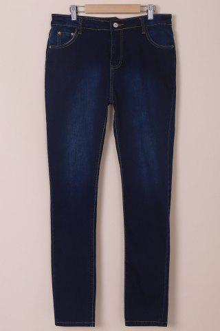 Outfit High-Waisted Tapered Jeans DEEP BLUE M