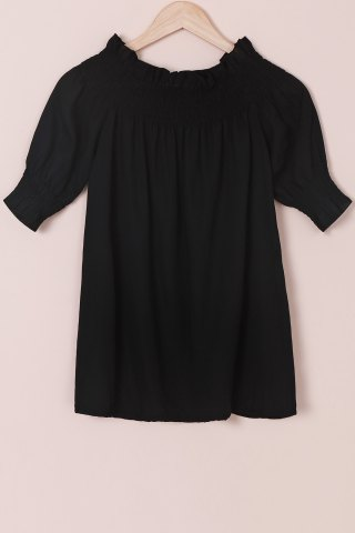Hot Trendy Solid Color Off-The-Shoulder 3/4 Sleeve Blouse For Women BLACK S