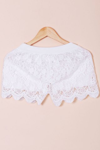 Online Hook Flower Hollow Out Solid Color Scalloped Shorts WHITE ONE SIZE