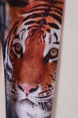 Unique Chic Tiger Print High Stretchy Leggings For Women - ONE SIZE(FIT SIZE XS TO M) TIGER PRINT Mobile