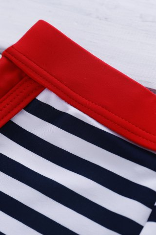 Discount Classic Color Block Stripes Lace-Up Boxer Swimming Trunks For Men - M STRIPE Mobile