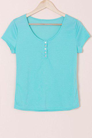 Scoop Neck Short Sleeve Solid Color Slimming T Shirt