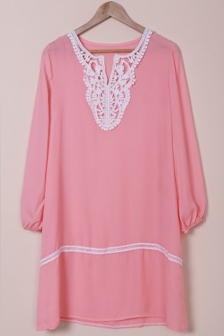 Shops Graceful V-Neck Long Sleeve Loose-Fitting Hollow Out Women's Dress PINK M