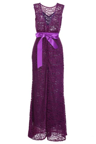Buy Backless Lace Long Formal Evening Dress - 2XL PURPLE Mobile