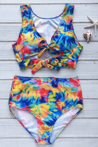 Chic Sexy Plunging Neck Floral Print High-Waisted Women's Tropical Bathing Suit - S COLORMIX Mobile