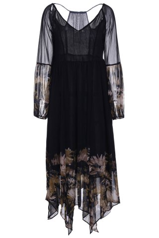 Bohemian Plunging Neck Long Sleeve See-Through Floral Print Women's Dress