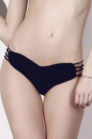 Buy Seamless Heart Pattern Strappy Bikini Briefs Bottom - XL BLACK Mobile