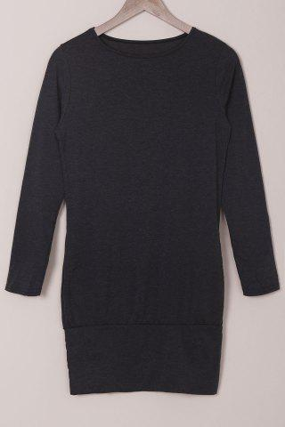 Simple Style Solid Color Long Sleeve Bodycon T-Shirt Dress For Women - BLACK - XL