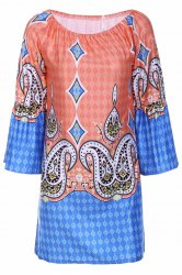 Bohemian Style Scoop Neck Flare Sleeve Printed Dress For Women