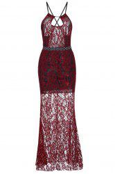Sheer Backless Fitted Lace Maxi Prom Dress - RED S