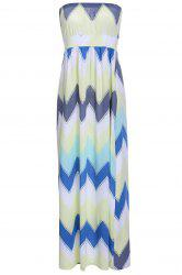 Trendy Strapless Colorful Chevron Printed High Waist Maxi Dress For Women -