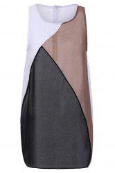 Fashionable Round Collar Sleeveless Color Block Bodycon Dress For Women - COLORMIX L