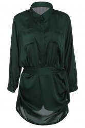 Brief Polo Collar Army Green Long Sleeve Romper For Women -