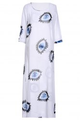 Casual 3/4 Sleeve Eyes Printed Maxi Dress For Women - WHITE M