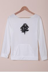 Chic Women's Plants Print Long Sleeve Sweatshirt - WHITE S
