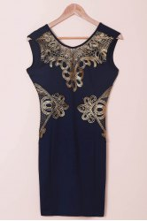 Chic Women's Lace Cut Out Splicing Bodycon Dress - BLUE M