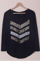 Trendy Sequin Spliced Long Sleeve T-Shirt For Women