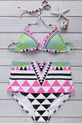 Ethnic Style Halter Argyle Backless High Waist Elastic Bikini Set For Women