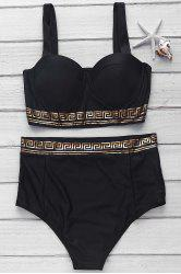 Spaghetti Strap Printed High-Waisted Bikini Set -