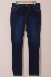High-Waisted Tapered Jeans - DEEP BLUE L